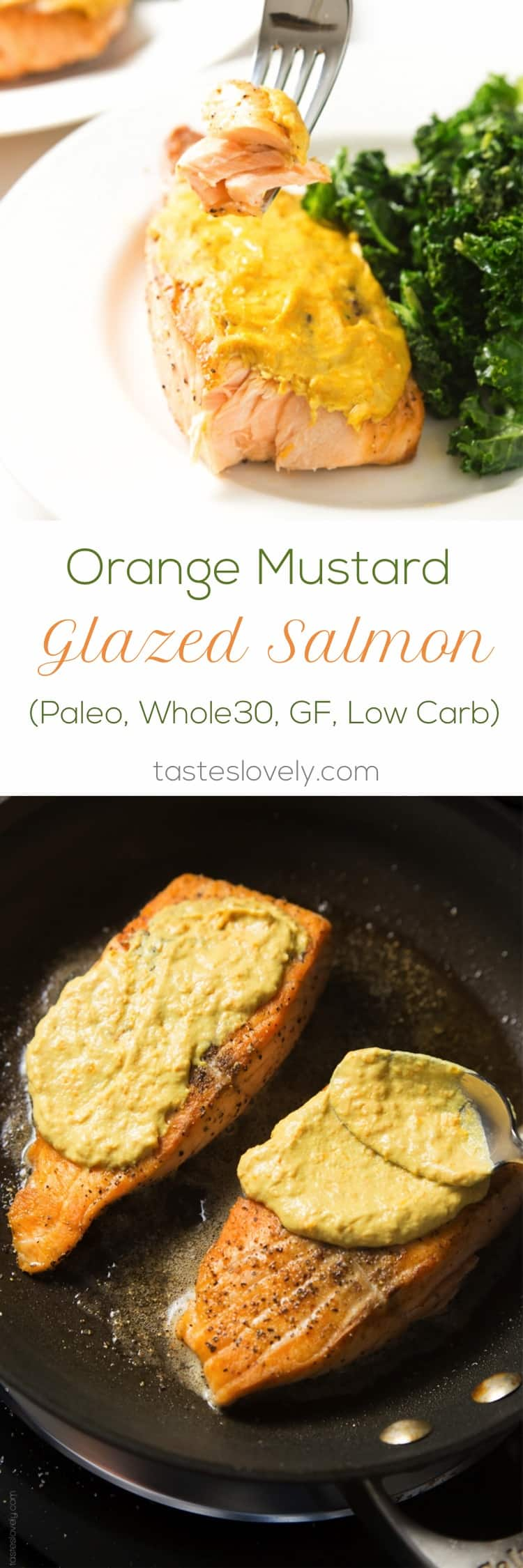 Orange Mustard Glazed Salmon | tasteslovely.com