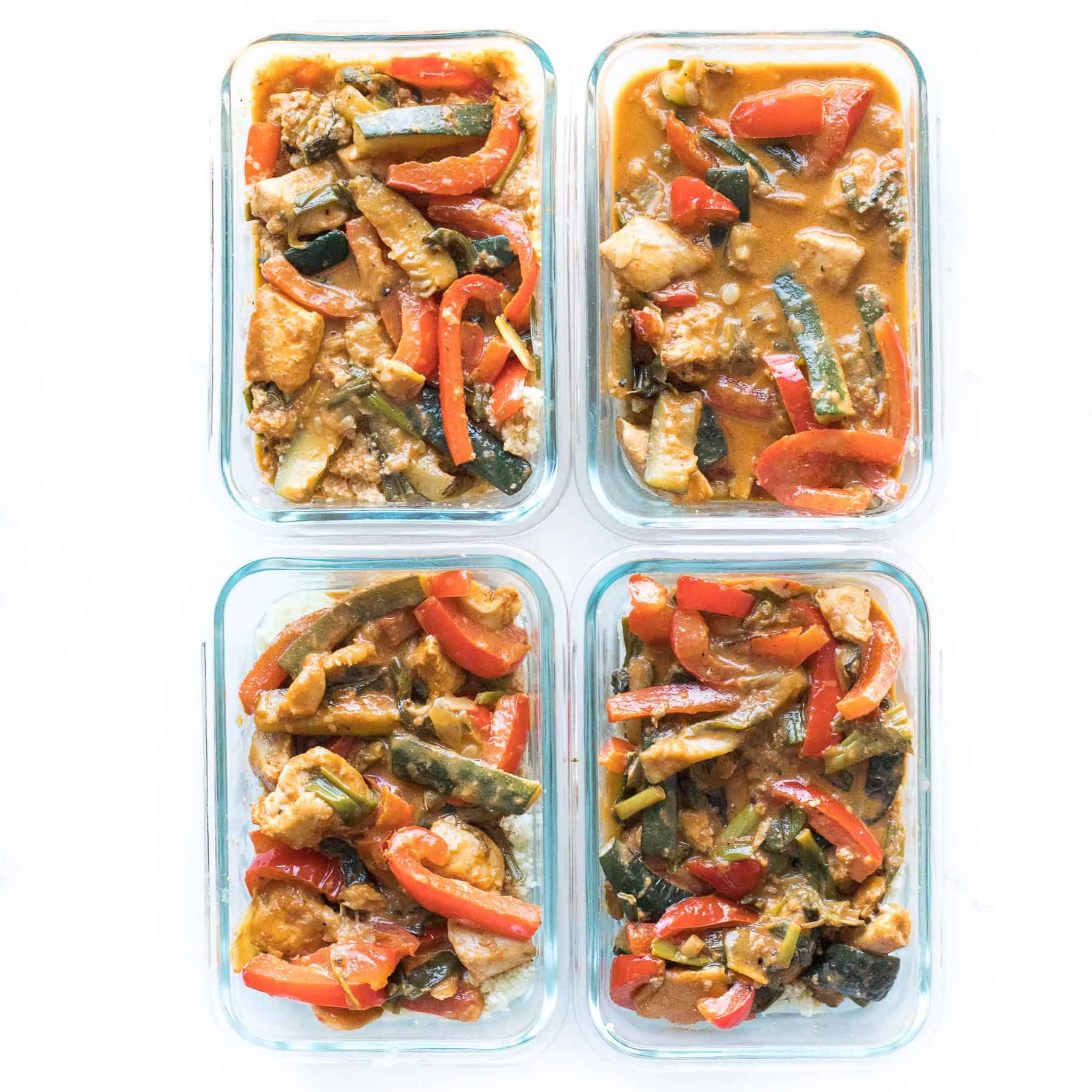 thai curry in meal prep containers