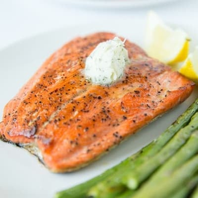 Pan Seared Salmon with Dill Butter | tasteslovely.com
