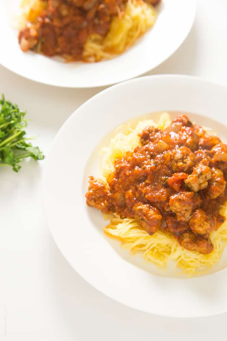 Spaghetti Squash & Meatballs - healthy spaghetti made w- spaghetti squash noodles & Italian sausage meatballs that tastes great! #glutenfree #paleo #whole30 #lowcarb #dairyfree
