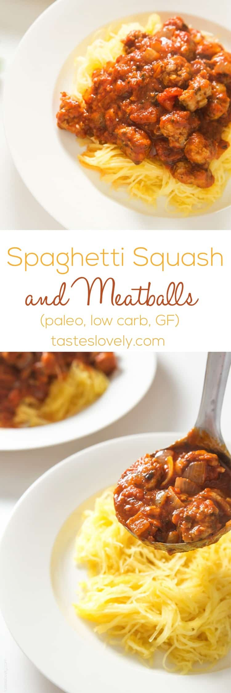 Spaghetti Squash & Meatballs - healthy spaghetti made w- spaghetti squash noodles & Italian sausage meatballs that tastes great! #glutenfree #paleo #whole30 #lowcarb #dairyfree