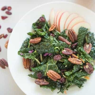 Winter Kale Salad with Apples and Pecans | tasteslovely.com