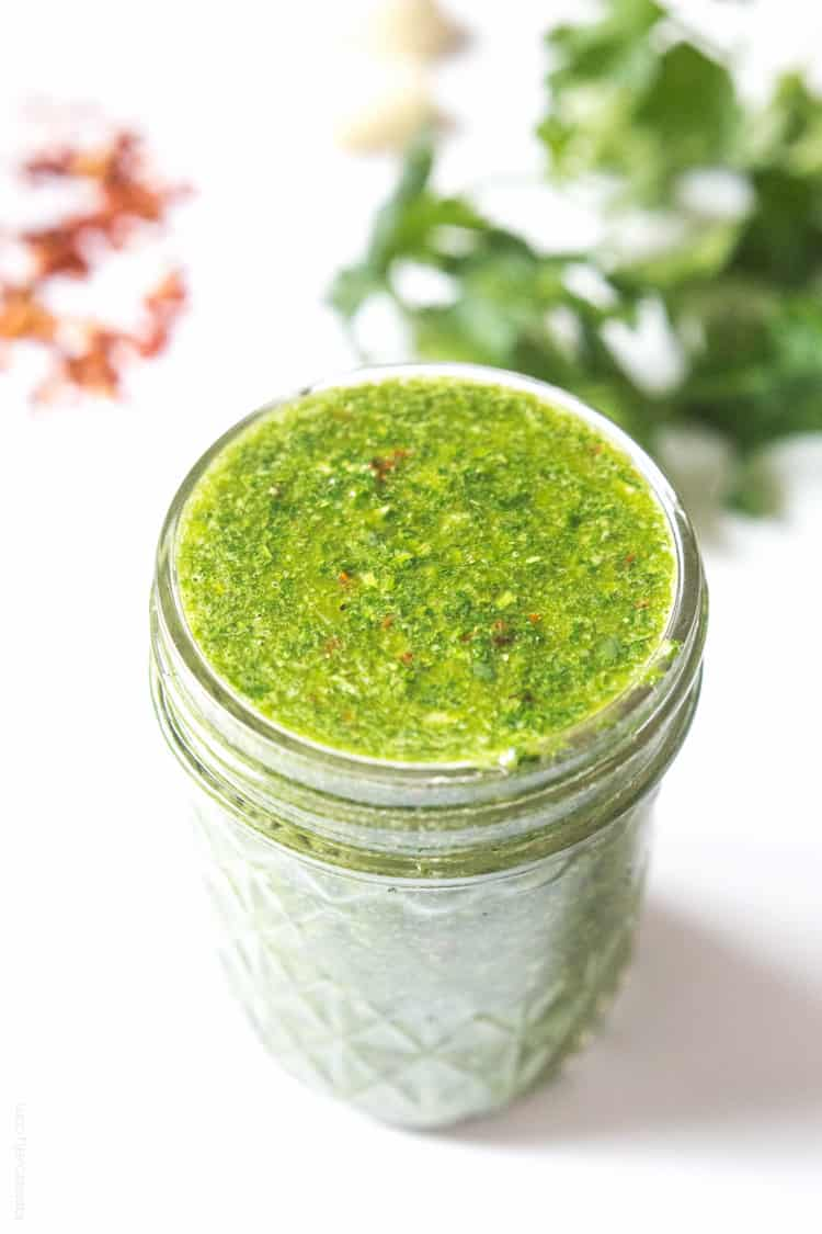 Chimichurri Sauce - cilantro parsley sauce that's great on steak, seafood and vegetables! #paleo #glutenfree #whole30 #vegan