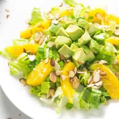 Orange Almond Salad with Avocado - my favorite lunch salad! #paleo #glutenfree #whole30 #vegan   tasteslovely.com