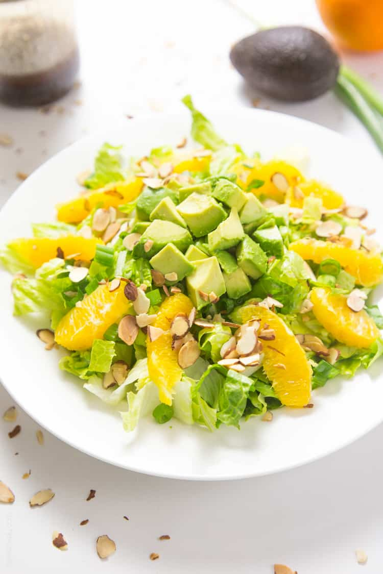 Orange Almond Salad with Avocado - the BEST favorite lunch salad! #paleo #glutenfree #whole30 #vegan-3