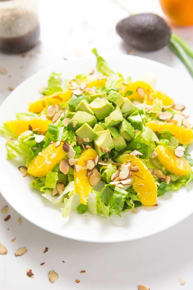 Orange Almond Salad with Avocado - the BEST favorite lunch salad! #paleo #glutenfree #whole30 #vegan-3