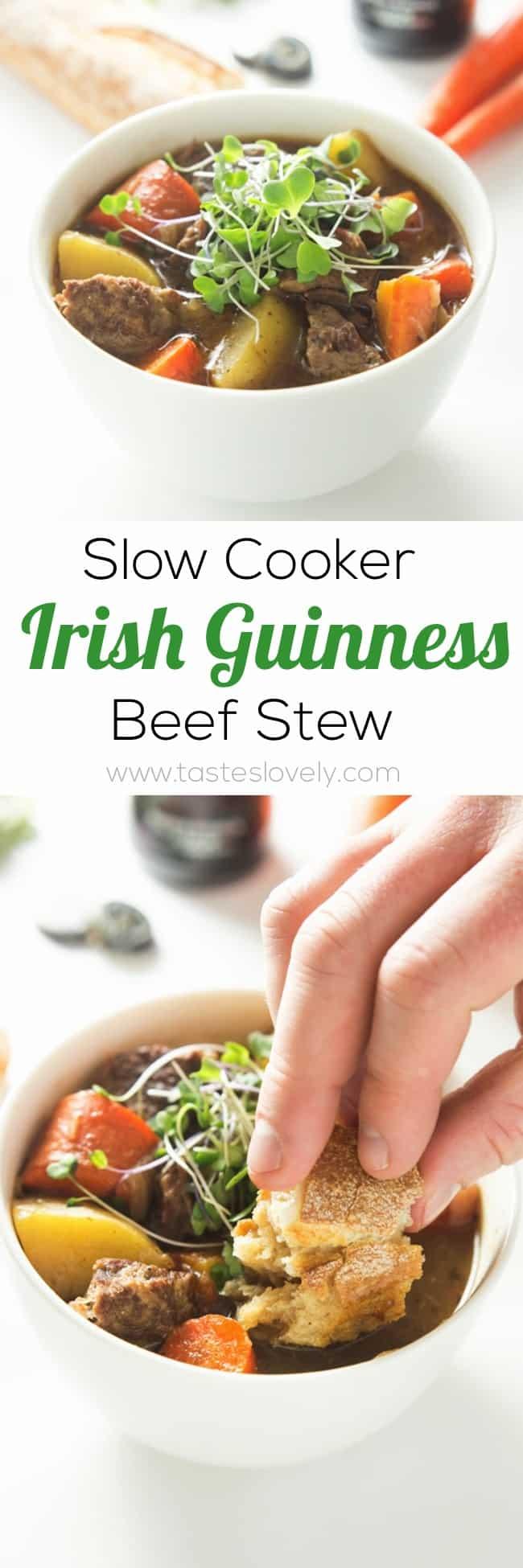 The BEST Slow Cooker Guinness Beef Stew | tasteslovely.com