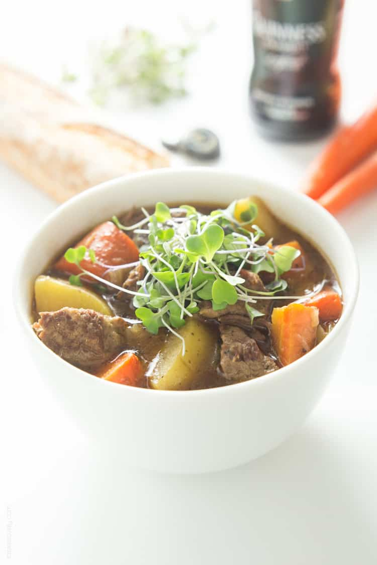 slow cooker Irish Guinness beef stew recipe. Chunks of tender beef ...