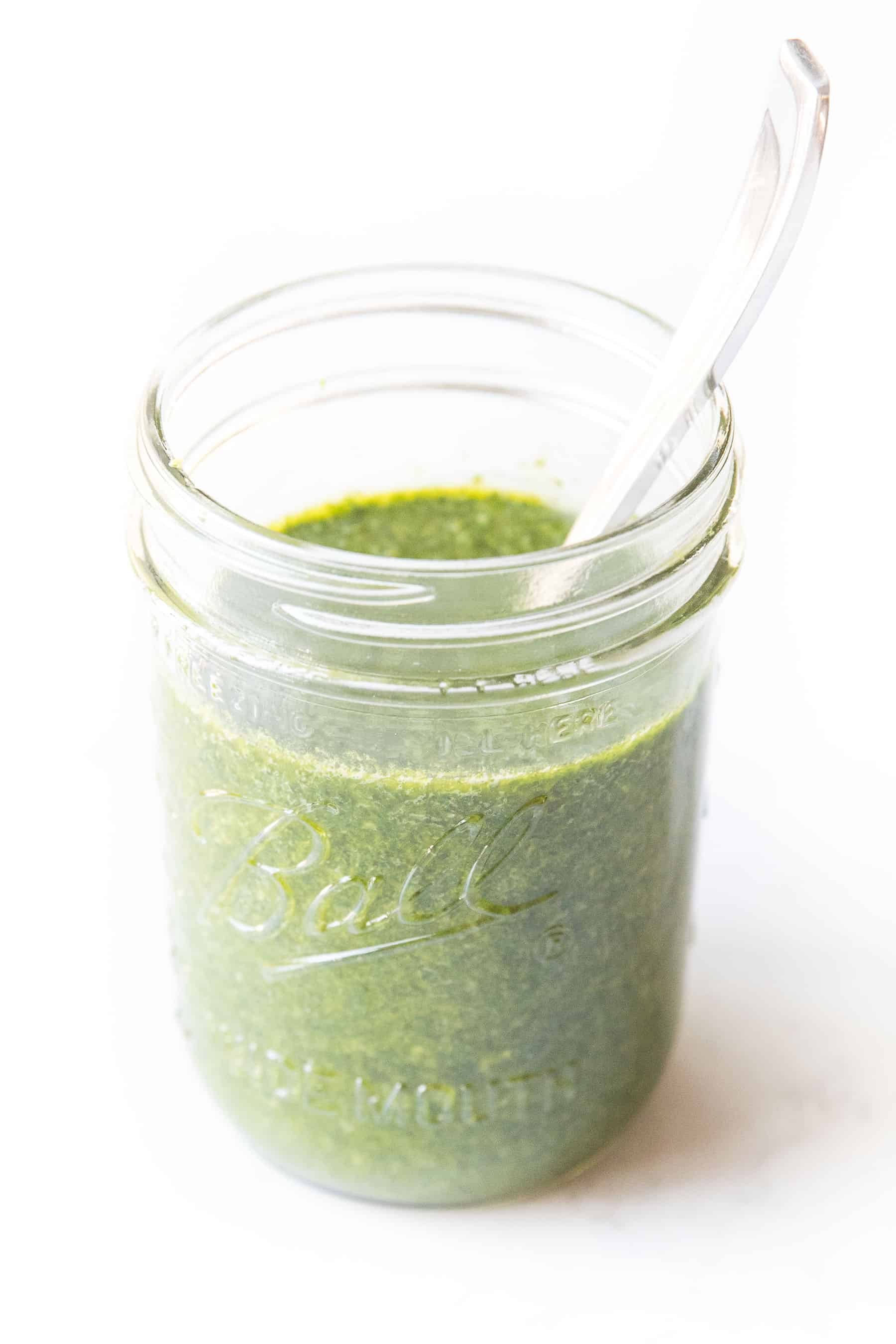 Chimichurri sauce in a mason jar