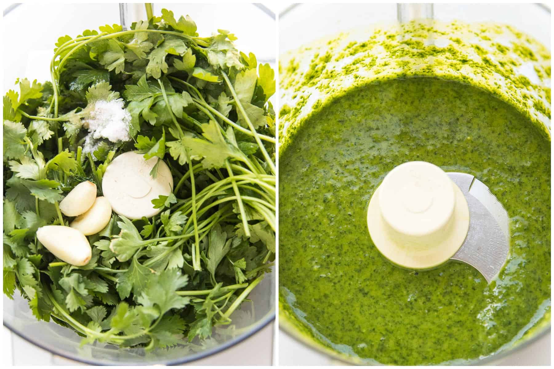 Steps of making chimichurri sauce in a food processor