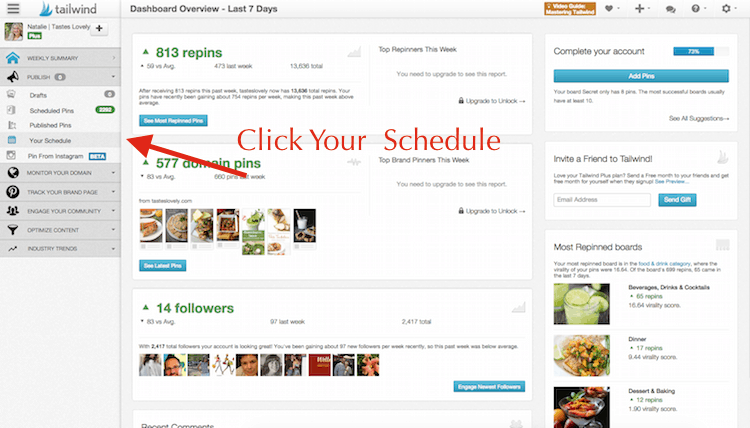 Set up your pinning schedule on Tailwind