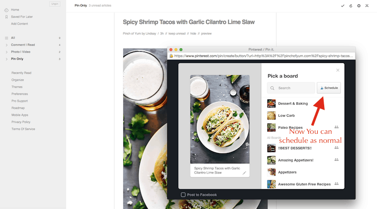 Scheduling a Pin from Feedly Reader feed-2