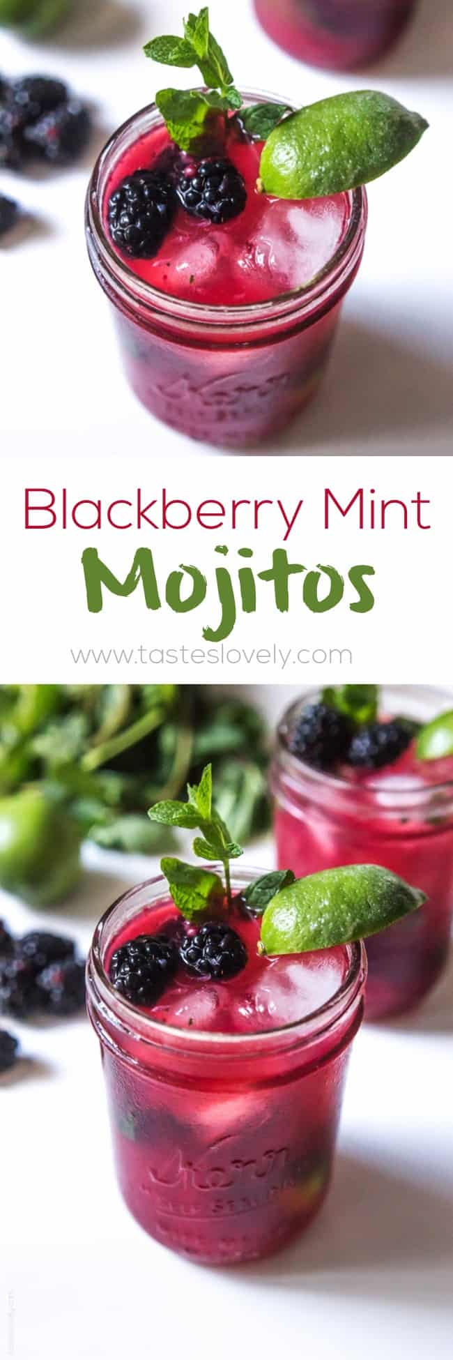 Blackberry Mint Mojitos with fresh blackberry juice