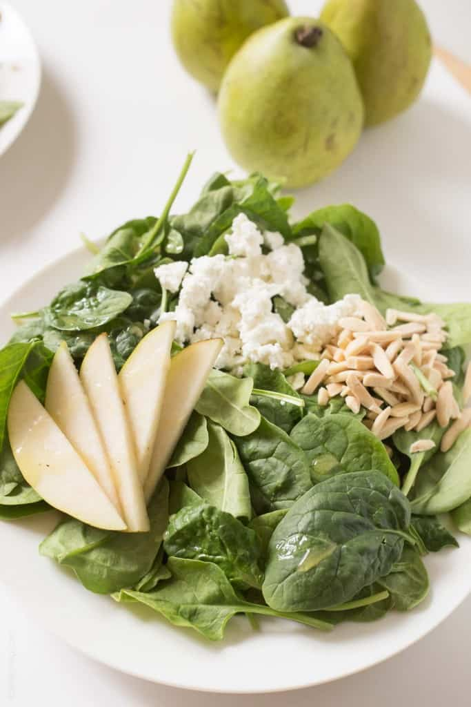Pear and Goat Cheese Spinach Salad #glutenfree #vegetarian