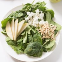 Pear and Goat Cheese Spinach Salad