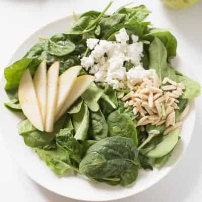 Pear and Goat Cheese Spinach Salad | tasteslovely.com