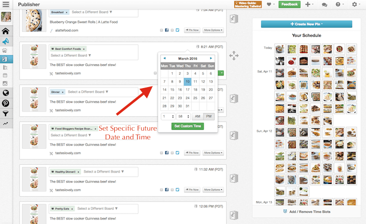 Schedule Seasonal Recipe for the Future with Tailwind