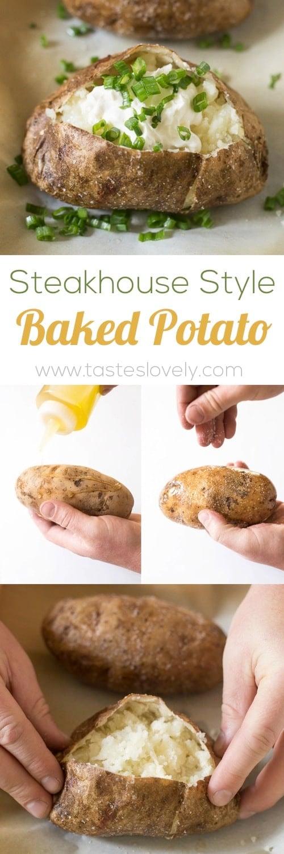 Steakhouse Style Baked Potato - the BEST baked potatoes I've ever had! #vegetarian #glutenfree