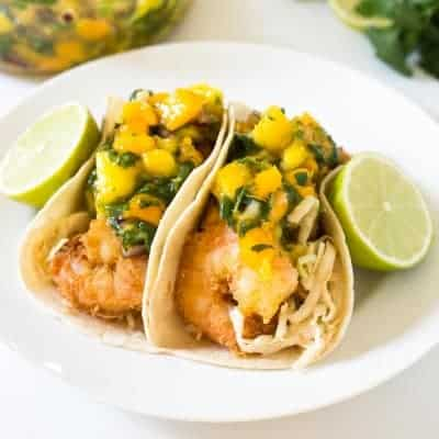 Tropical Coconut Shrimp Tacos | tasteslovely.com