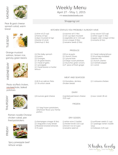 Weekly Menu April 27 - May 1 Grocery List