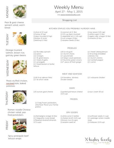 Weekly Menu April 27 - May 1 Grocery List