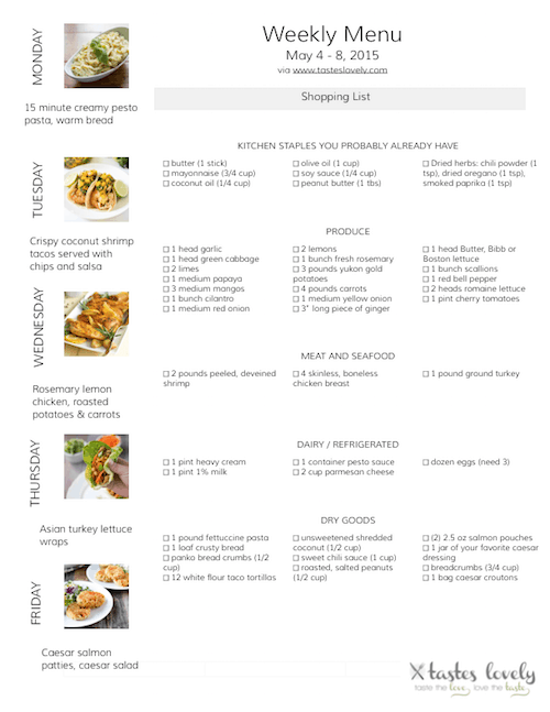 Weekly Menu Grocery Shopping List | tasteslovely.com
