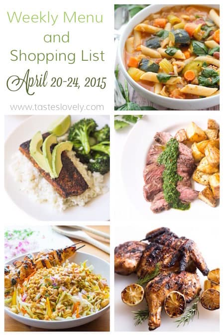Weekly Menu and Grocery Shopping List for April 20-24, 2015 | tasteslovely.com