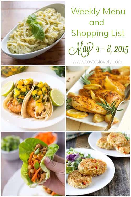 Weekly meal planning menu and grocery shopping list for May 4-8, 2015 | tasteslovely.com