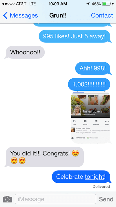 hitting 1000 facebook likes text message