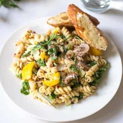 Creamy Mushroom and Bell Pepper Pasta | tasteslovely.com