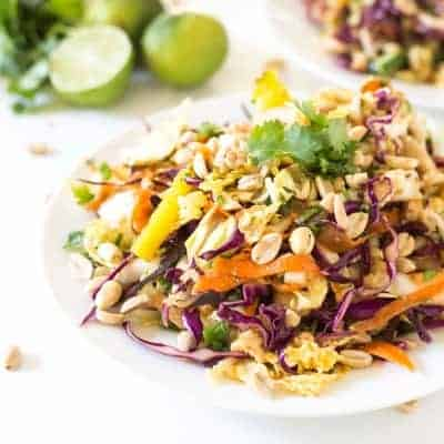 Rainbow Chopped Thai Chicken Salad | tasteslovely.com