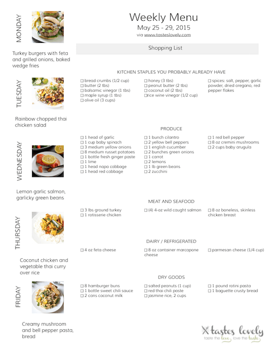 Weekly Menu and Grocery Shopping List, May 25 - 29, 2015 | tasteslovely.com
