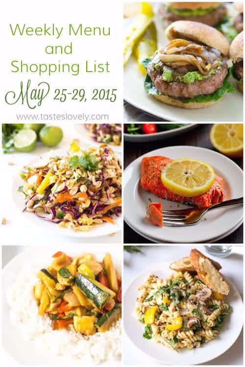 Weekly Menu and Grocery Shopping List, May 25 - 29, 2015 | tasteslovely.com-2