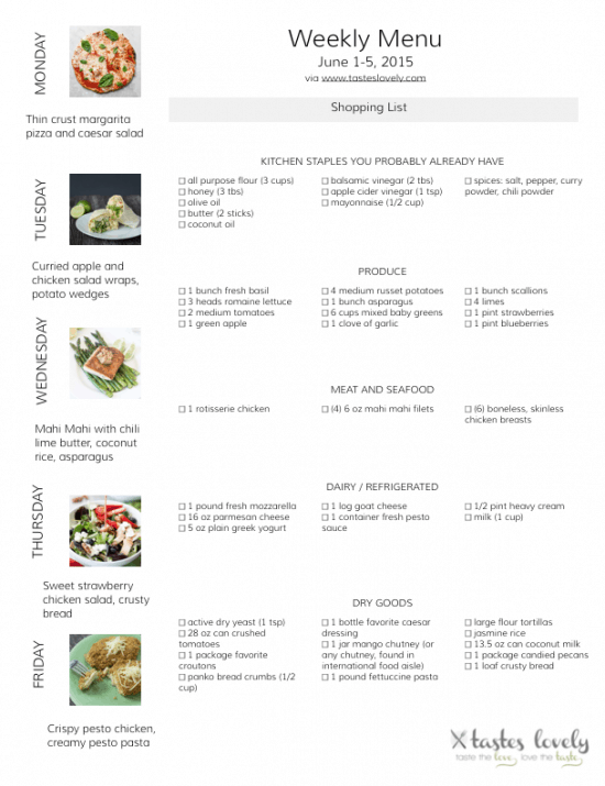 Weekly Menu and Grocery Shopping List for June 1-5, 2015