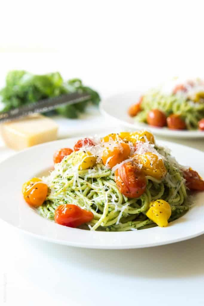 Kale Walnut Pesto Blistered Tomato Pasta Tastes Lovely