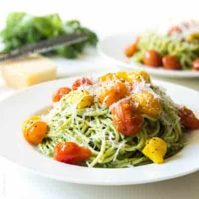 Kale Walnut Pesto & Blistered Tomato Pasta | tasteslovely.com