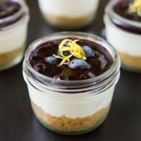 Mini No Bake Cheesecakes with Blueberry Sauce