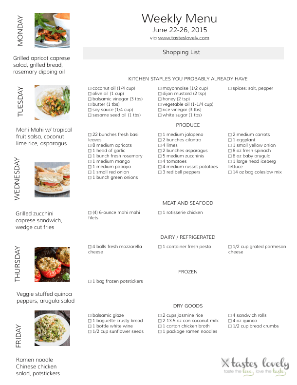 Weekly Menu & Grocery Shopping List - June 22-26, 2015 | tasteslovely.com-1
