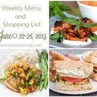 Weekly Menu & Shopping List :: June 22-26