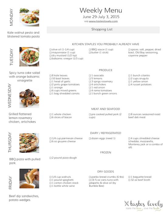 Weekly Menu & Grocery Shopping List for June 29-July 3, 2015 | tasteslovely.com
