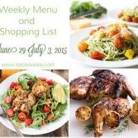 Weekly Menu & Shopping List :: June 29 – July 3