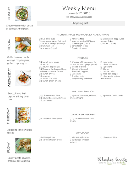 Weekly Menu and Grocery Shopping List | June 8-12 2015 | tasteslovely.com