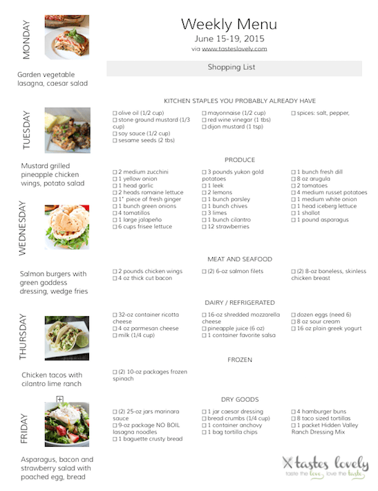 Weekly Menu and Grocery Shopping List for June 15-19, 2015 | tasteslovely.com-1