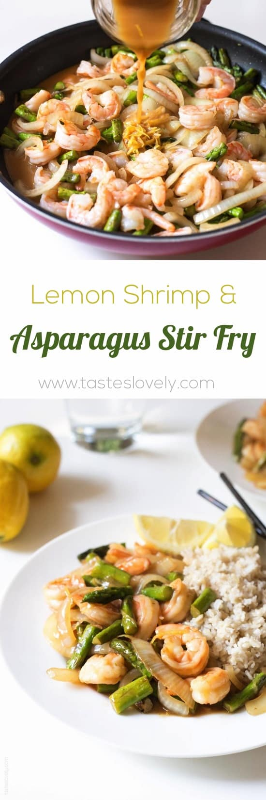 Lemon Shrimp & Asparagus Stir Fry | tasteslovely.com