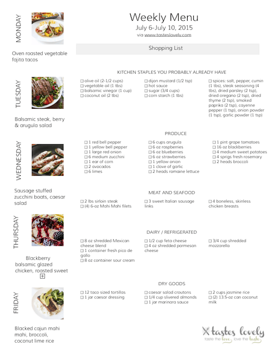 Weekly Menu & Grocery Shopping List for July 6-10, 2015   tasteslovely.com