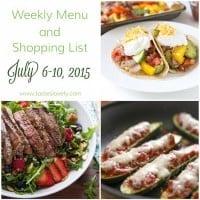 Weekly Menu & Shopping List :: July 6-10, 2015
