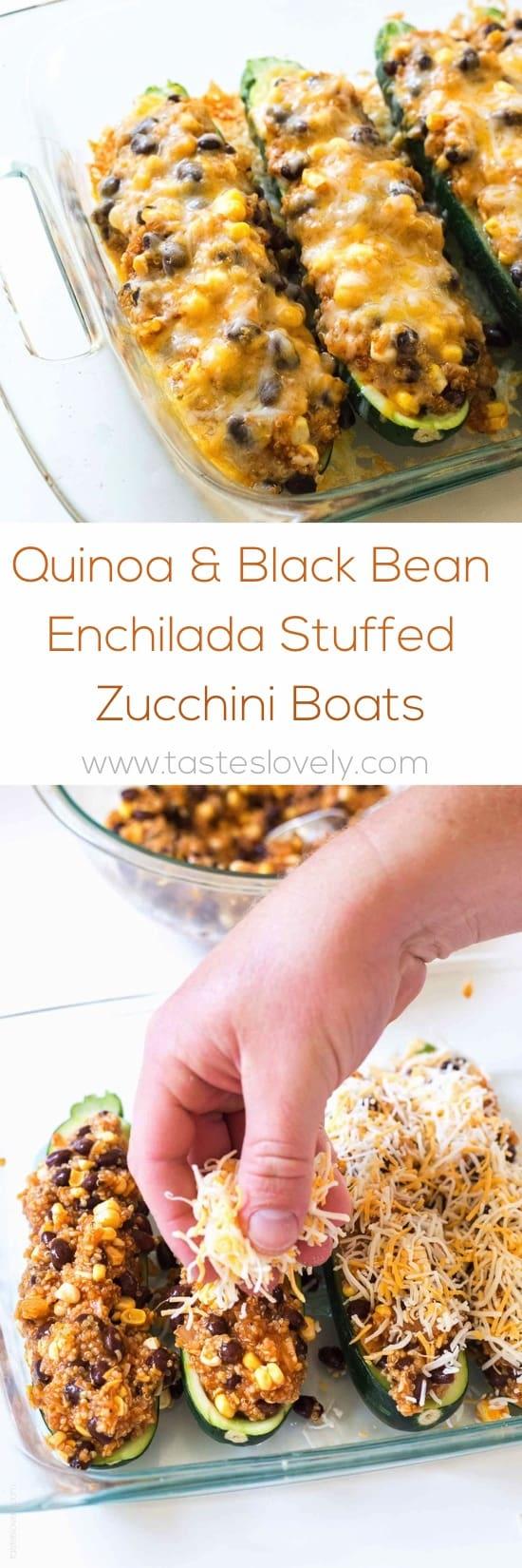 Quinoa & Black Bean Enchilada Stuffed Zucchinis (gluten free)