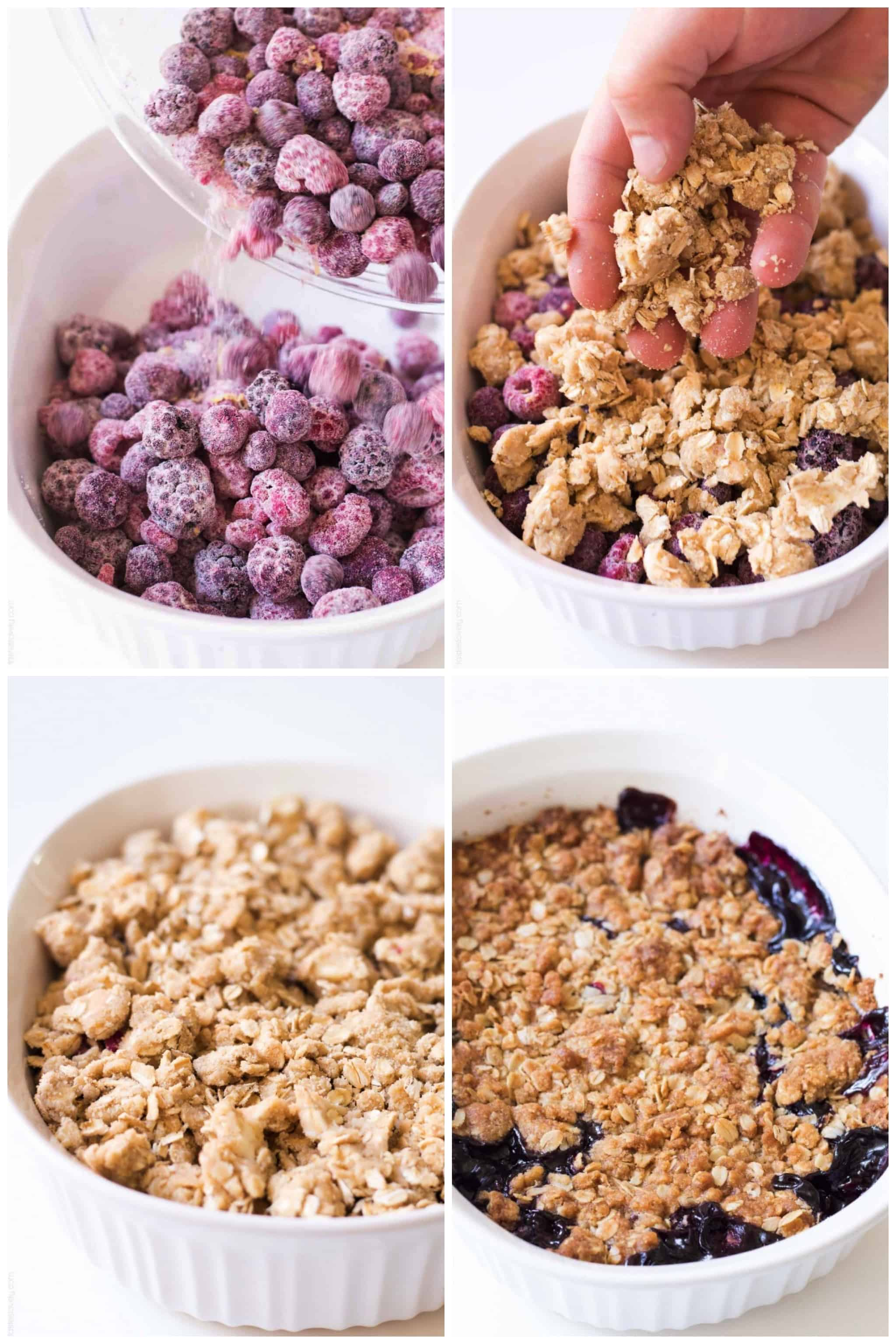 Steps of making triple berry crumble