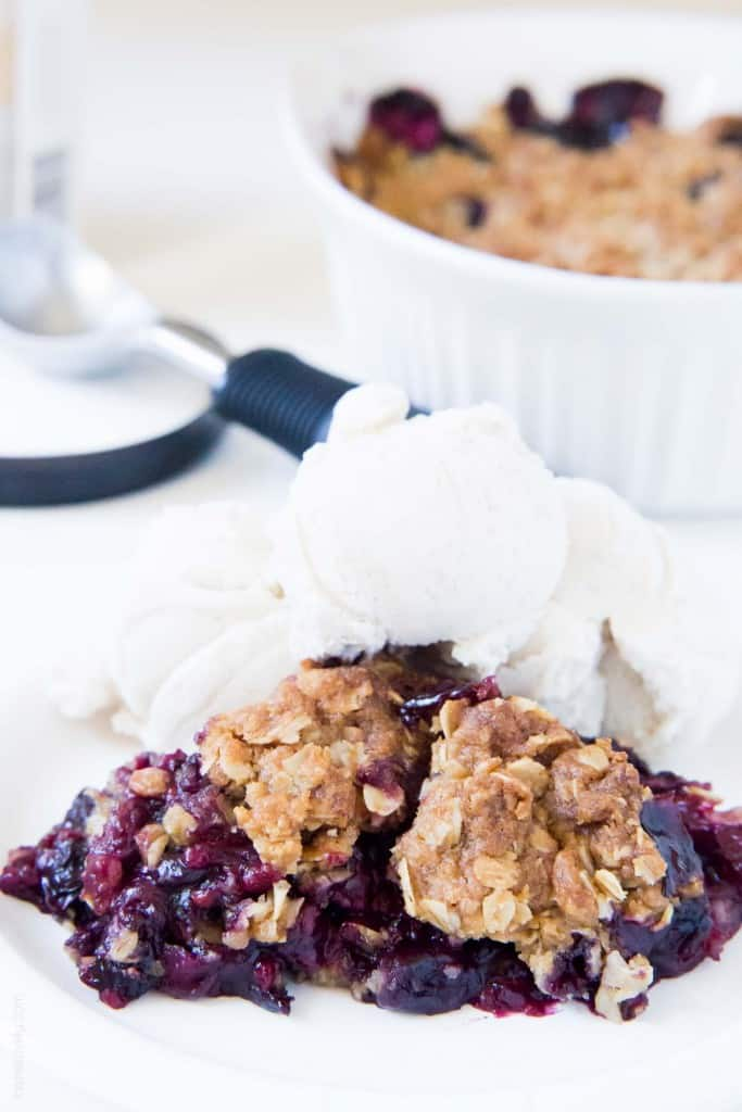 berry crumble topped with ice cream