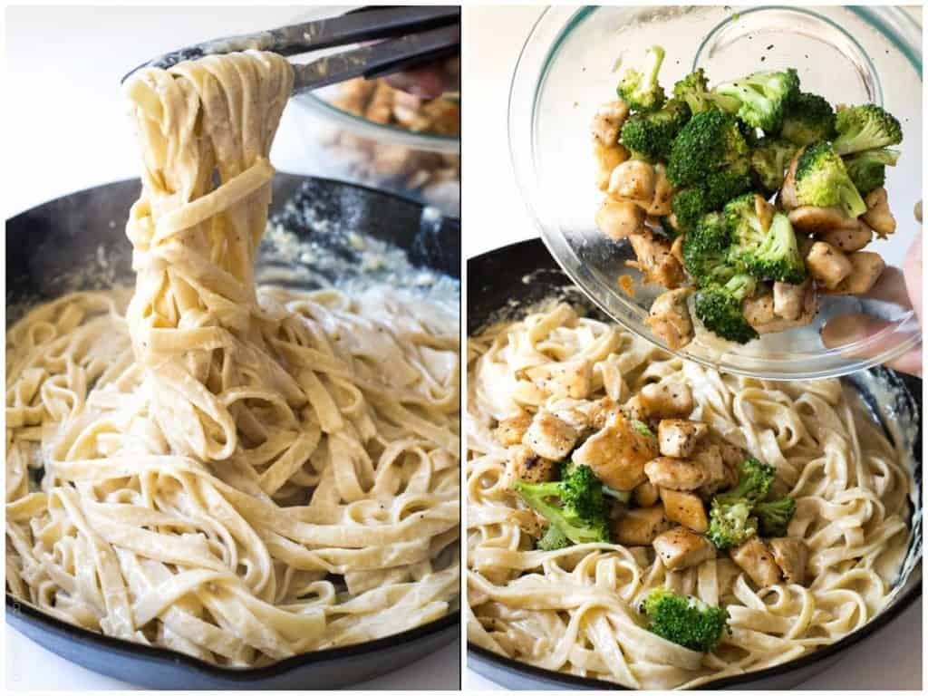 Making homemade broccoli chicken fettucine alfredo